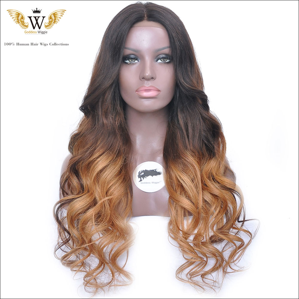 180Density Glueless Ombre Curly Lace Front Human Hair Wigs Baby Hair Ombre Full Lace natural wave Human Hair Wigs