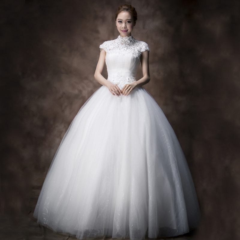 2015 new wedding dress a shoulder lace Korean thin white summer Qi tail code out of yarn(China (Mainland))