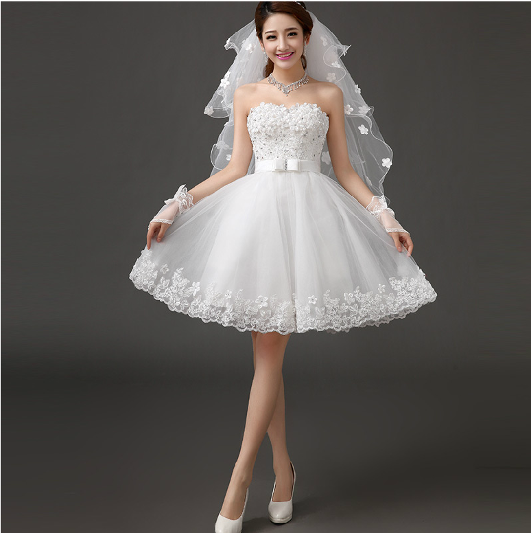 Buy Strapless Short Wedding Dress 2014 White With Flowers Sw
