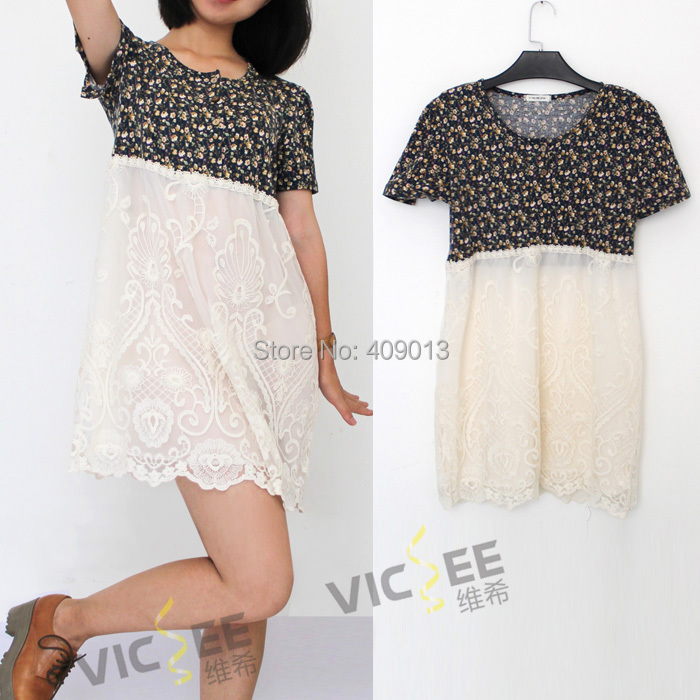 Floral print cute lovely lace splicing embroidery double layers round neck short sleeve woman summer dress VCD013 - VICSEE International Apparel Ltd store