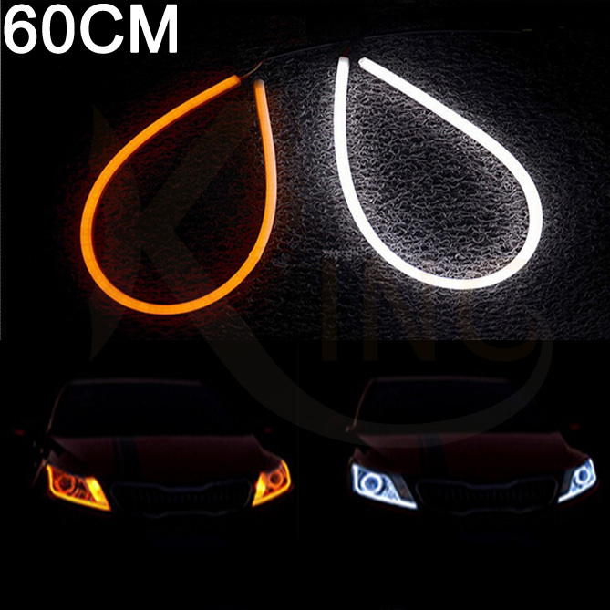 60cm LED Daytime Running Light White Yellow Flexible Switchback Strip Turn Signal Tube Angel Eye DRL DIY Headlight For Audi(China (Mainland))