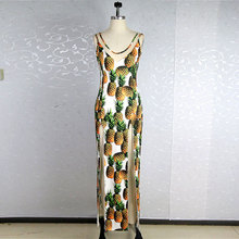 Sexy Pineapple printing summer dress V-Neck Tank Package buttocks women dress Backless Bilateral split gauze Dresses maxi dress