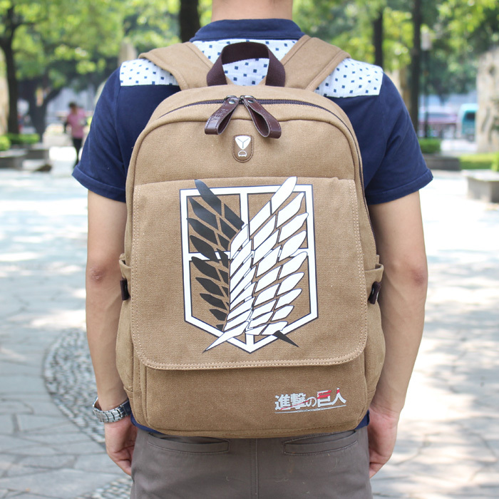 Anime Canvas Backpack Attack on Titan backpack bag canvas laptop bag Computer Bag schoolbag Fashion Gift Cool bag(China (Mainland))