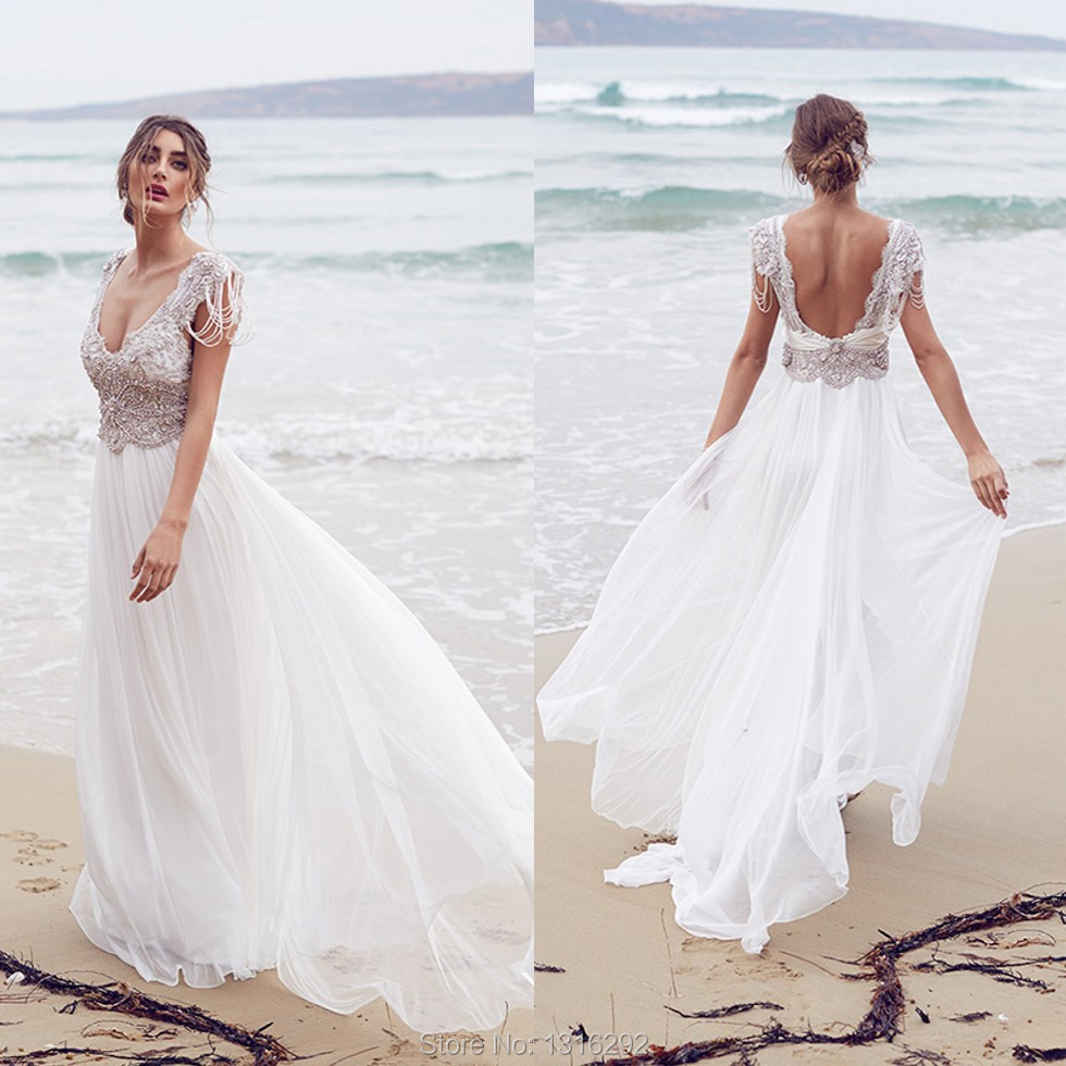 Vestidos De Novia 2015 White Chiffon Crystal Beaded Beach Wedding Dresses Backless Bridal Gowns