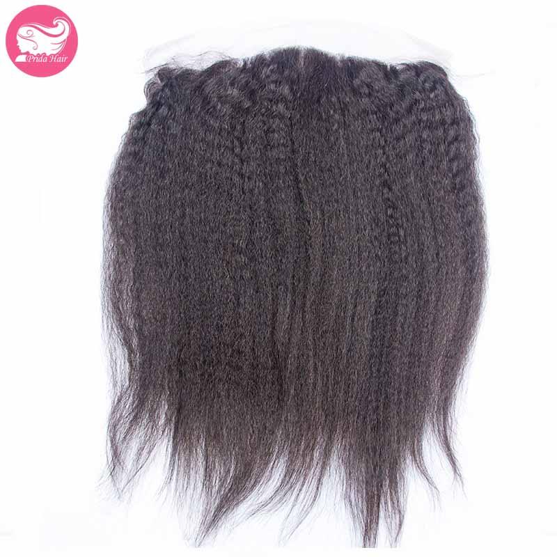 Kinky Straight Mongolian Virgin Human Hair Lace Frontal Closure Ear To Ear Corase Yaki Full Lace Frontals Closure With Baby Hair<br><br>Aliexpress