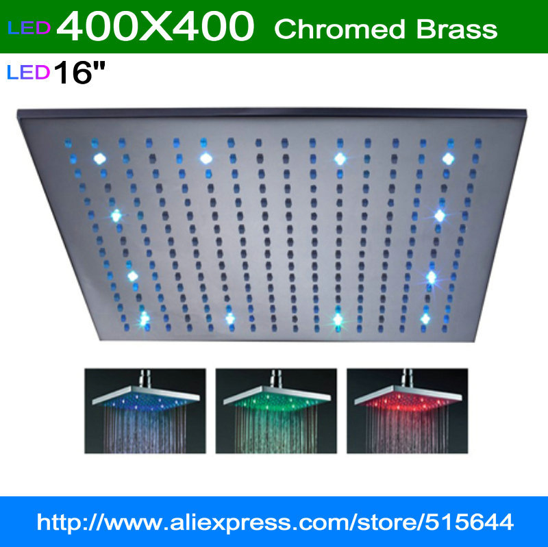 "16"" square LED RGB light big shower head brass rainfall for bathroom bath mixer faucet tap chromed brass(China (Mainland))"
