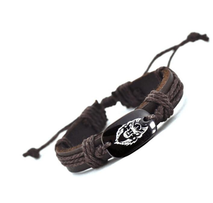 2016 New Arrival Wolf Head Leather Bracelet AliExpress Best Selling Handmade Bracelets for Men YP2594