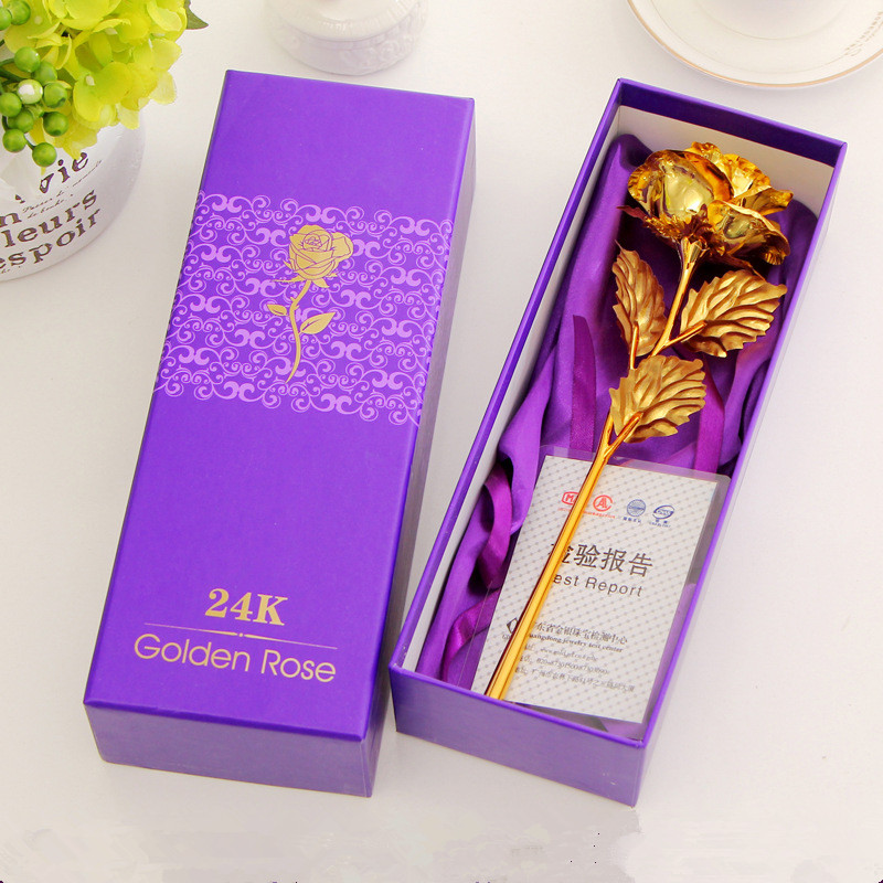 2016 New 24K Golden Rose Chinese Handmade Flower Artificial Rose Decorative Flowers Home Decor Indoor Gift for Wife Valentine(China (Mainland))