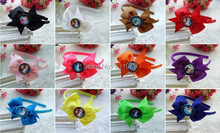 "12 pcs 3.5"" sister princess kid  girl ribbon hair headband Bottle Caps bows boutique flower hair accessories xmas gift(China (Mainland))"