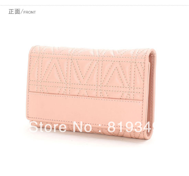 VANCL Women Purses Cynthia Stitched Full Grain Leather Elegant Double-Fold Design Wallet Gray/Pink/Black New FREE SHIPPING