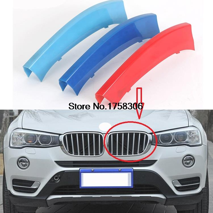 3D Clip-on ABS 3 Colors Car Grille Sport Decoration Trim Strip for 2014-2015 BMW X3 X4 Series(China (Mainland))