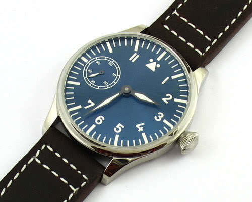 Parnis 44mm black dial Classic casual seagull 6497 handding movement chain mechanical watch blue luminous large men - Station store
