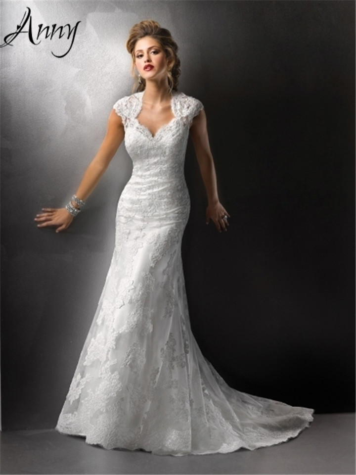 sale wedding dress sheath cap sleeve floor length lace wedding dress