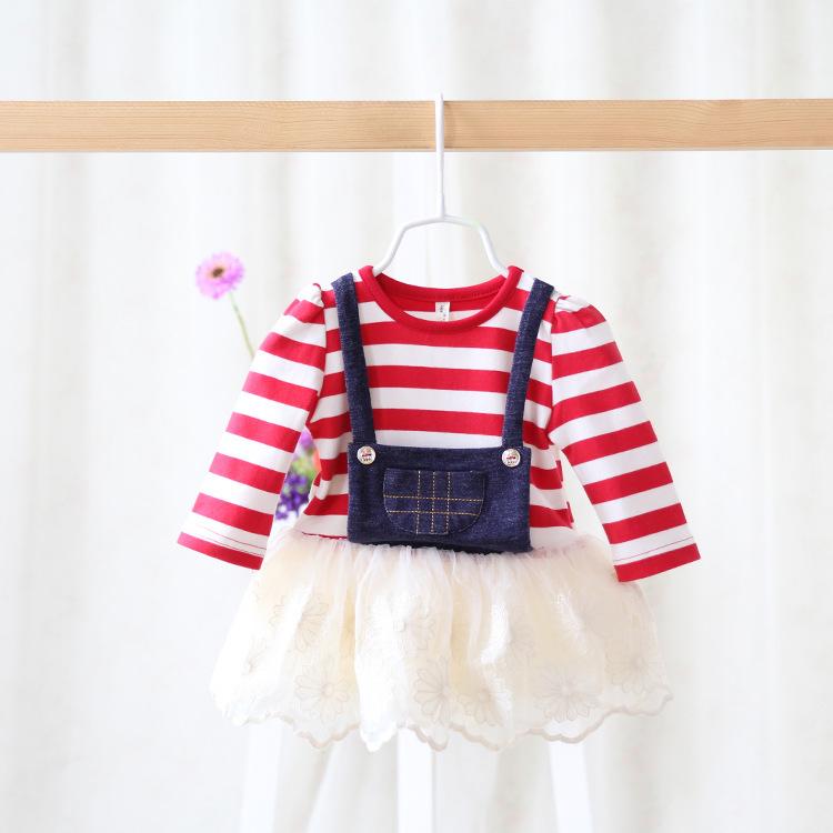 2015 New,baby girls striped denim dress,children princess dress,long sleeve,lace embroidery,2 colors,5 pcs/lot,wholesale,2797<br><br>Aliexpress