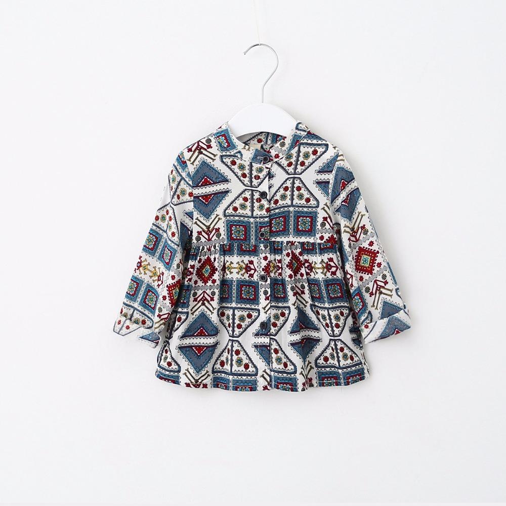 2016 Childrens girls Geometric figure national wind shirt kids skirt shirt  wholesale<br><br>Aliexpress