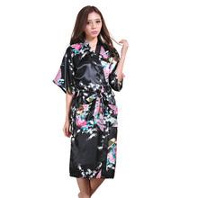 Summer Women Nightgown Emulation Silk Kimono Yukata Polyester Dressing Gowns for WomenPeacock Cardigan Bathrobe Clothes At Home