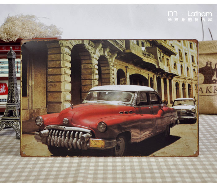 The old red Benz classic car vintage tin sign bar antique metal crafts home decoration 20*30cm(China (Mainland))