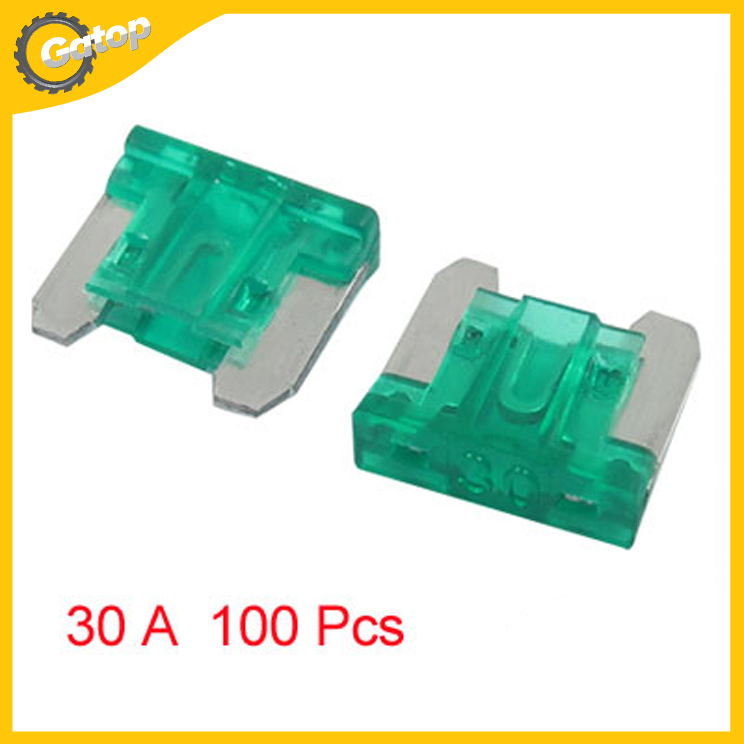 Car Flat Blade Fuse Green Mini Size Blade Fuse 100 Pcs w Case 30A 30 AMP For Truck Motorcycle Van Fuses Holder Car Styling(China (Mainland))