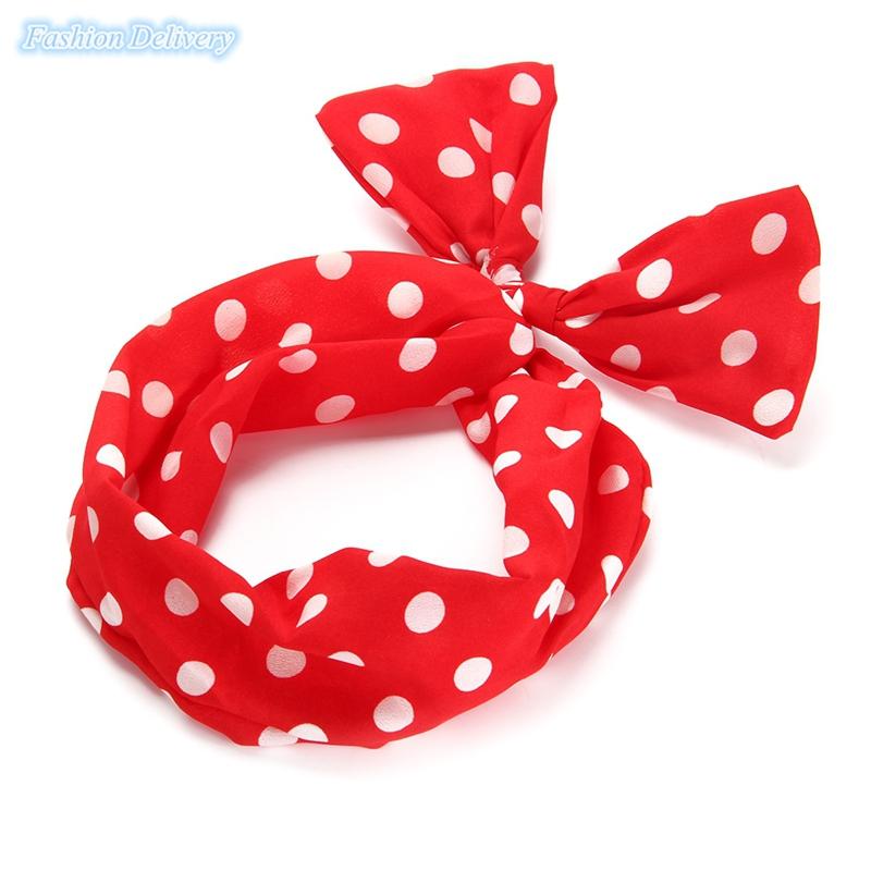 1x Women's Chiffon Bow Bowknot Hair Hoop Headband Hair Band Rabbit Bunny Ears Abstract Stripe Polka Dot Headband Free Shipping(China (Mainland))