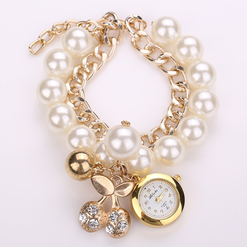 Fashion Pearl Bracelet Watch Elegant Cherry Chain Women Watches Relogio Feminino Relojes Mujer 2015 BW1486 - Q-Star Store (min order 1pc store)