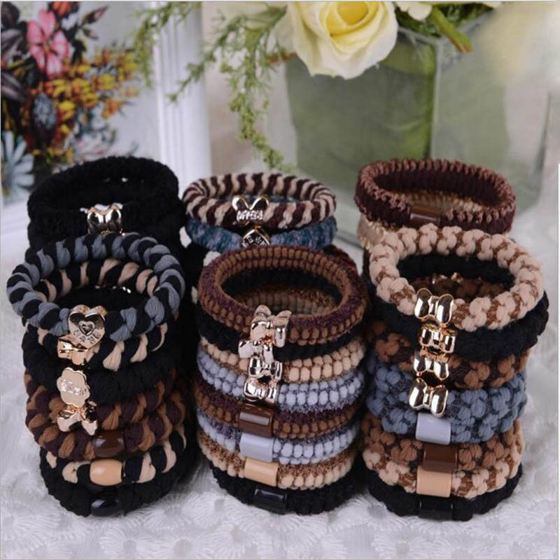 Women Elastic Hair Bands Fashion Jewelry Hair Accessories Bows Headbands Adorable Ponytail Scrunchy Girls Ornamental Gum 4pcs(China (Mainland))