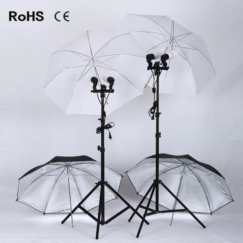 Photo Kits 2*2m light stand+ 2*E27 Double lamp horlder socket+Flash Seat+ 4*45w photography lights+4*33 inch soft umbrella(China (Mainland))