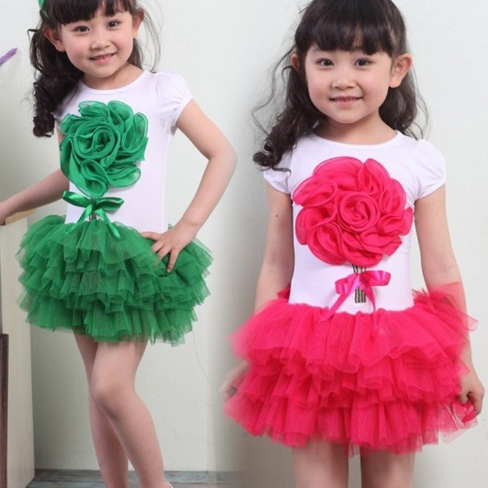 Retail,4 color,Age1-6,Girl's new Flower formal lace princess wedding dress female Children's /baby girl party ball - Super-Mom store