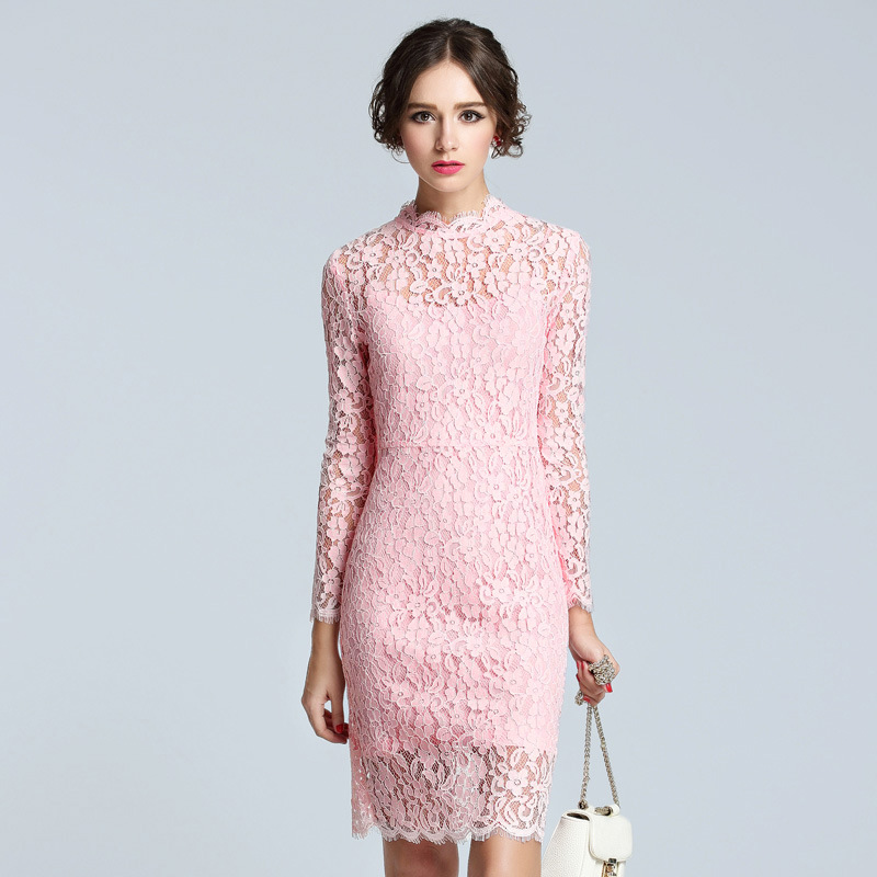 Spring 2016 women's wear long full sleeve hook flower hollow outbud silk dress star compared with 5229(China (Mainland))