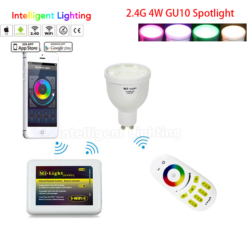 1X 2.4G RF Remote + 1x Mi light wifi controller + 1x 4w/2x 4w//3x 4w/4x 4w GU10 led bulb RGBW(RGB+White/Warm white) led lamps(China (Mainland))
