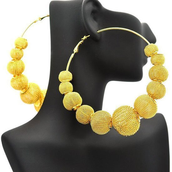 Free Shipping Gold Plated Basketball Wives Large Mesh Disco Ball Beads Wives Hoop Earrings