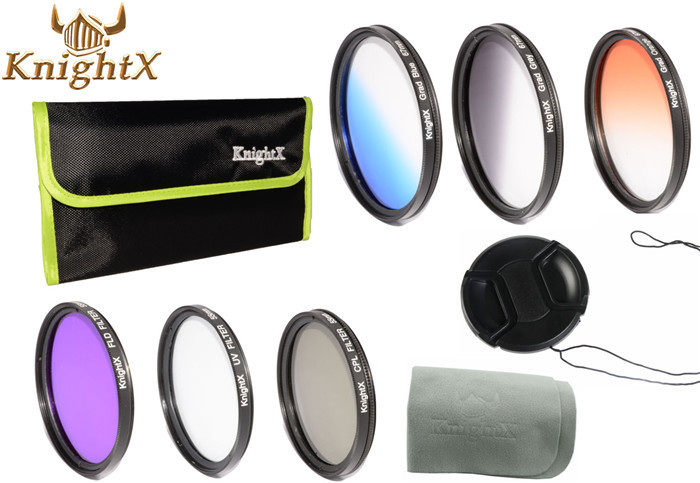UV CPL FLD Graduated Grey ND Color Lens Filter set for Sony Minolta Leica Tamron Canon Nikon 55mm lens KnightX F4(China (Mainland))