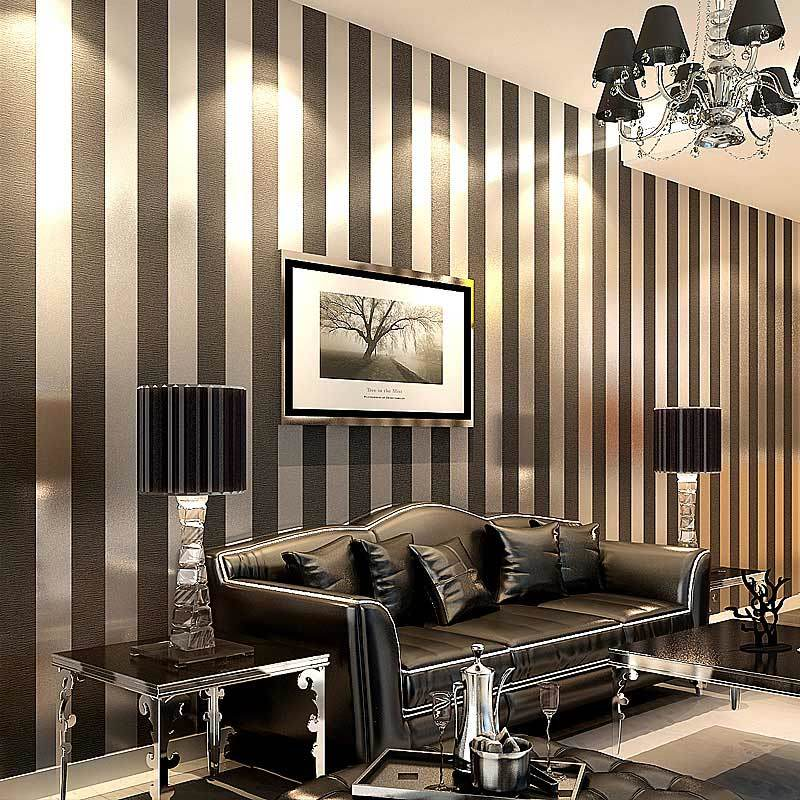 Modern black wallpaper striped purple and silver glitter for Purple living room wallpaper