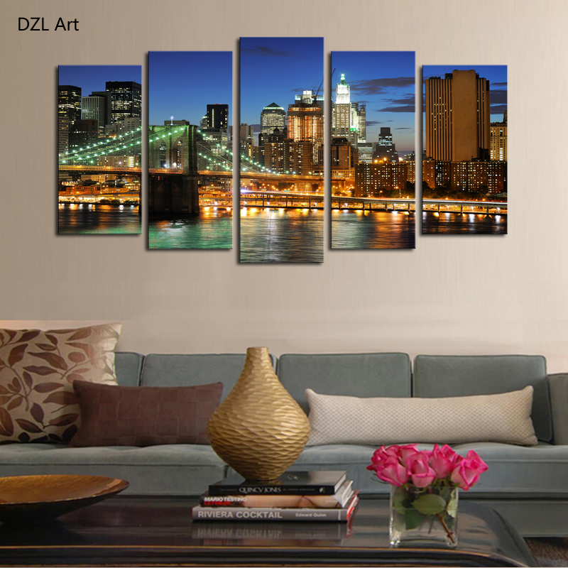 Buy 5 Panels No Frame The City Landscape Home Wall Decor Painting Canvas Art Hd