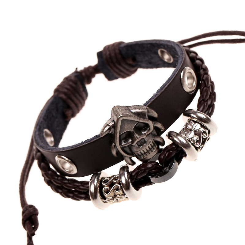 Antique Alloy Gothic Skull Studded Charm Bracelets Black Leather Braided Multilayer Cuff Bangle & Bracelet For Women Men Jewelry(China (Mainland))