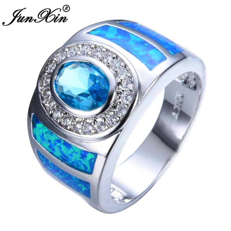 Aquamarine Round Female Opal Ring 2015 New Charming 925 Sterling Silver Jewelry Party/Wedding Rings For Men And Women RS0011(China (Mainland))