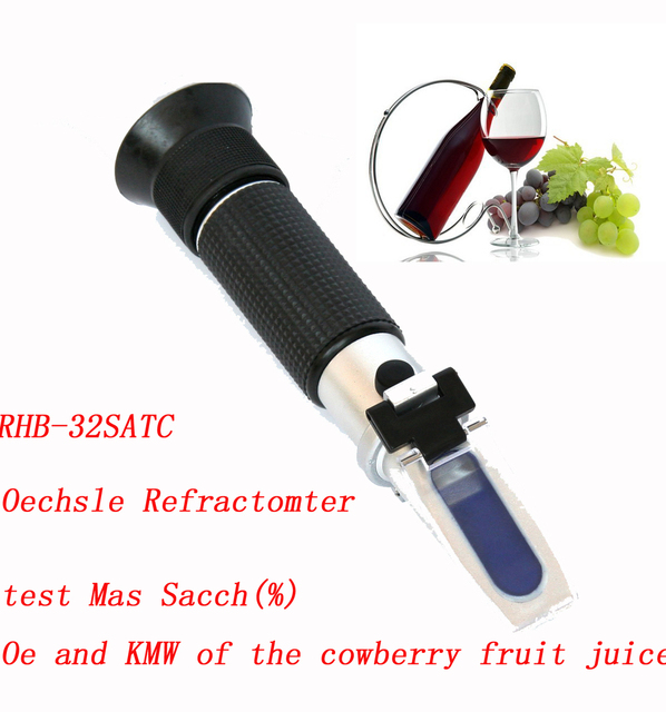Free shipping  Hand-held 0-32% brix Wine Oechsle Refractometer RHB-32SATC (mash)