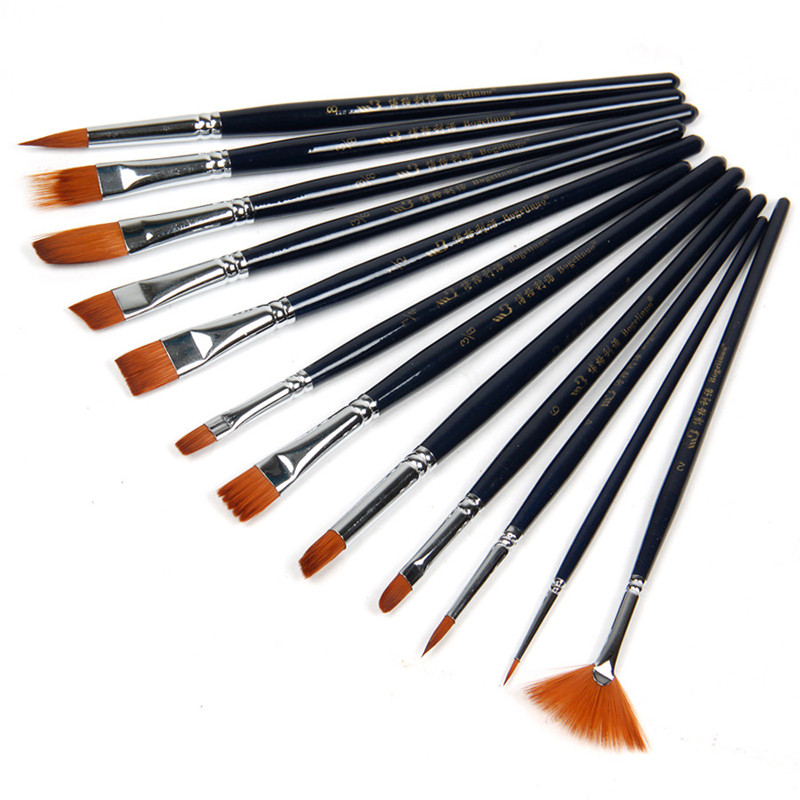 12pcs/set paint brush nylon hair for oil acrylic shading gouache watercolor painting pen artist school art supplies(China (Mainland))
