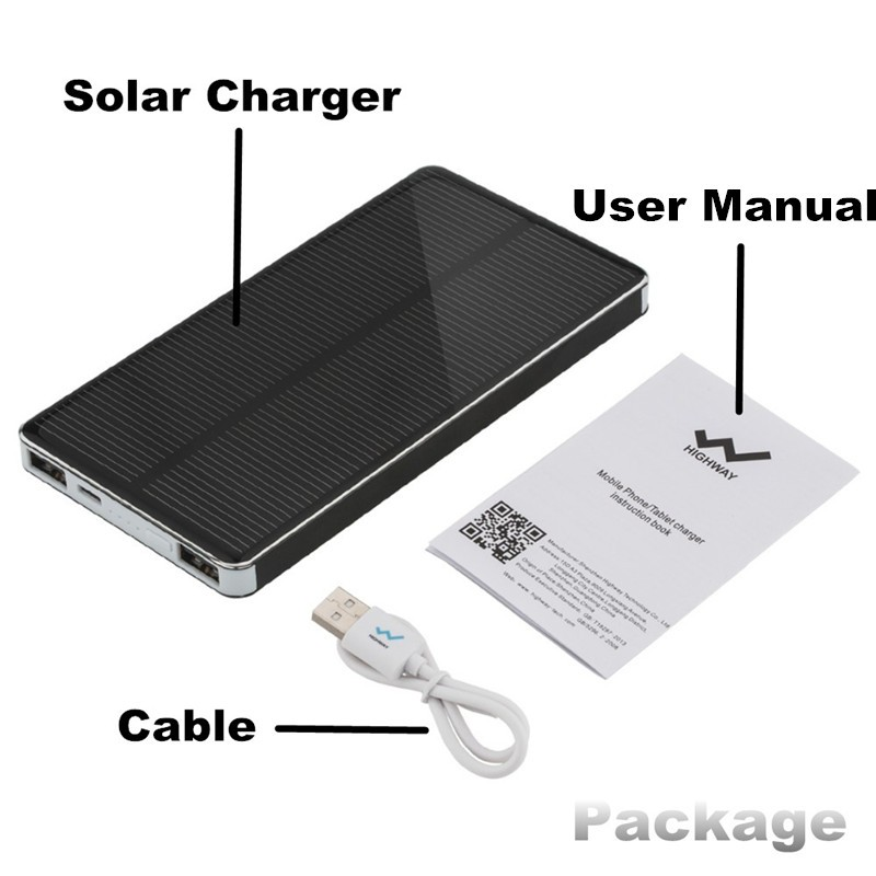PowerGreen 10000mAh Solar Charger 2-Port USB Solar Power Bank – External Battery Pack charger for phone with LED light