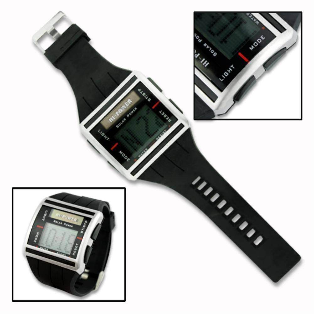Solar Power Sport Back Light Digital Mens Wrist Watch Time Stopwatch EN0085 Digital Waterproof Sport Wrist