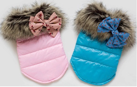 New Pet Puppy Dog Clothes Winter with Fur Collar Winter Coat with bowknot for Small Dogs Free Shipping(China (Mainland))