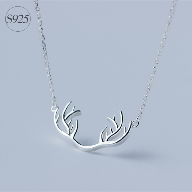 NEW Christmas 925-sterling-silver Deer Antler Necklace | Hunting Necklace Redneck Jewelry Sterling-silver-jewelry Christmas Gift(China (Mainland))