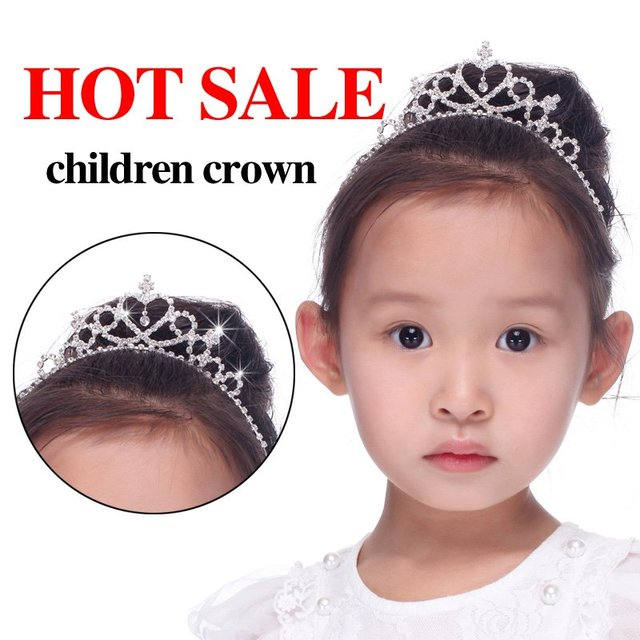 Free shipping 6pcs/lot Fashion Children Kids Rhinestone Princess Hair Wedding Tiaras Hair Crown Hair Accessories Christmas Gift