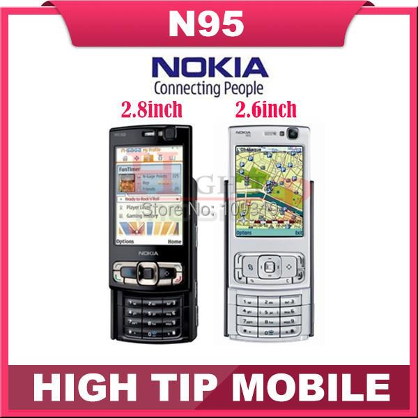 Original Nokia N95 unlocked GSM 3G cellphone 2.6 inch or 2.8 inch(8gb internal memory) Quadband 5MP WIFI GPS 1 year warranty(China (Mainland))