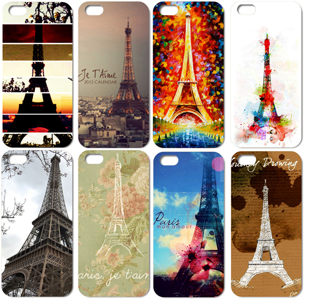 Eiffel Tower series design mobile phone back case printed plastic case for iphone4 4s hot sale(China (Mainland))
