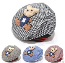 Baby Boy and Girl Cotton Bear  Beret Infant Toddler Plaid Hat