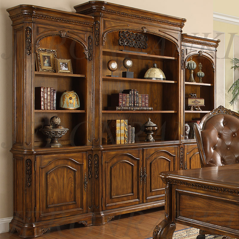 American Style Furniture Bookshelf Bookcase American Style Solid Wood Furniture Belt Door Solid