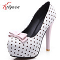 Big size3 11 summer Fashion Sweet Polka Dot Bow Girl Pumps Vintage thin High Heels Mixed