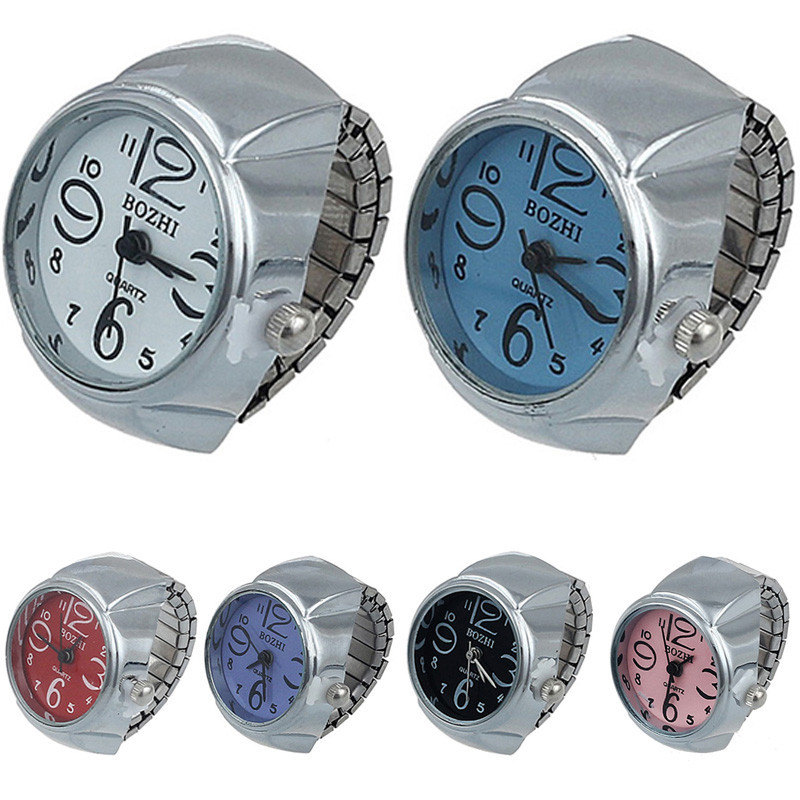 Women Girl Chic Stainless Steel Round Elastic Quartz Finger Ring Watch Free shipping & Wholesales Feida(China (Mainland))
