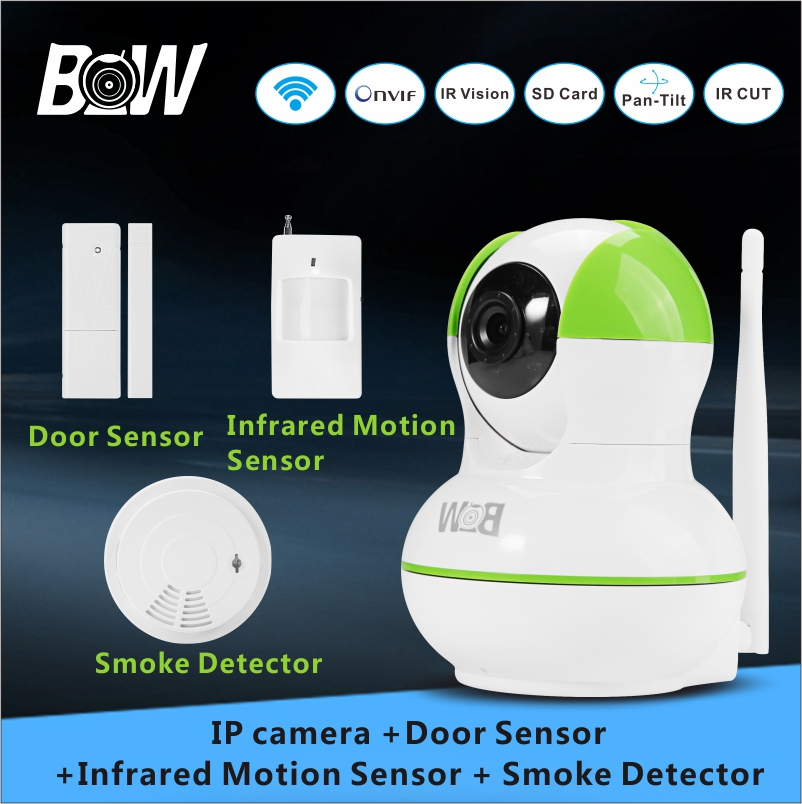 Фотография 720P HD Camera wi-fi Security CCTV +Door Sensor +Infrared Motion Sensor +Smoke Detector Alarm Sensor Surveillance Camera BW12GR