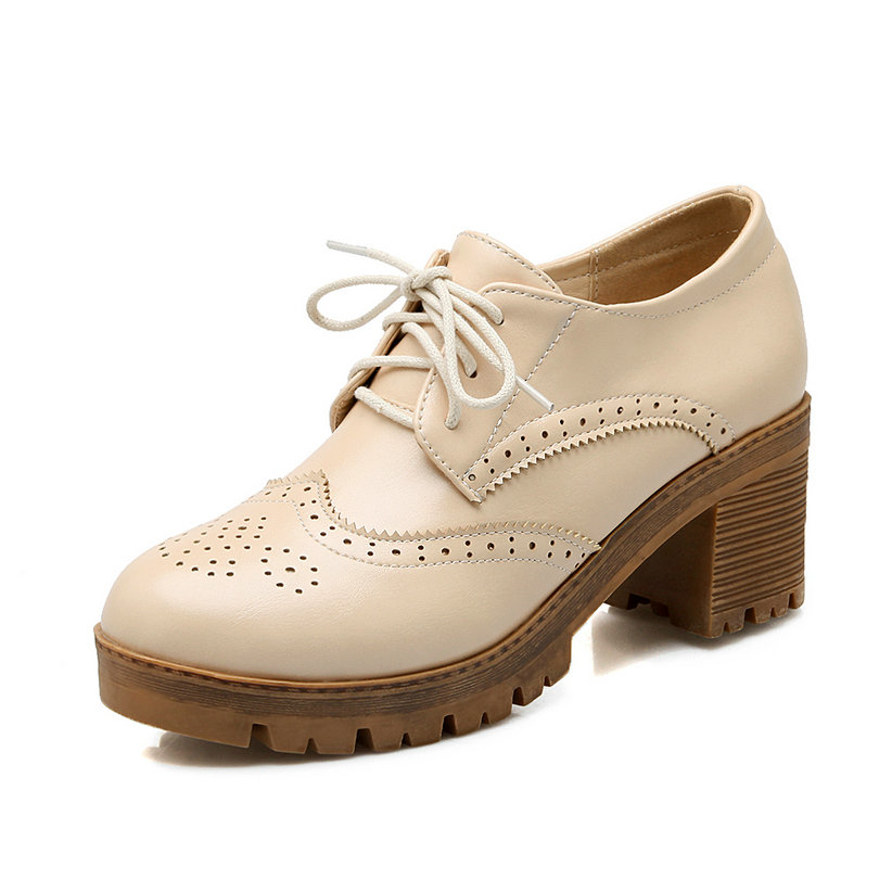 Lace Up Round Toe Solid Miss Shoes,Med Heel PU leather Cut Outs Spring Autumn Leisure Retro Women Pumps Shoes Size 34-43 Beige